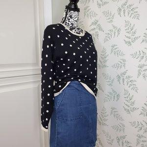 Vtg Black and White Polka Dot Long Sleeve Sweater